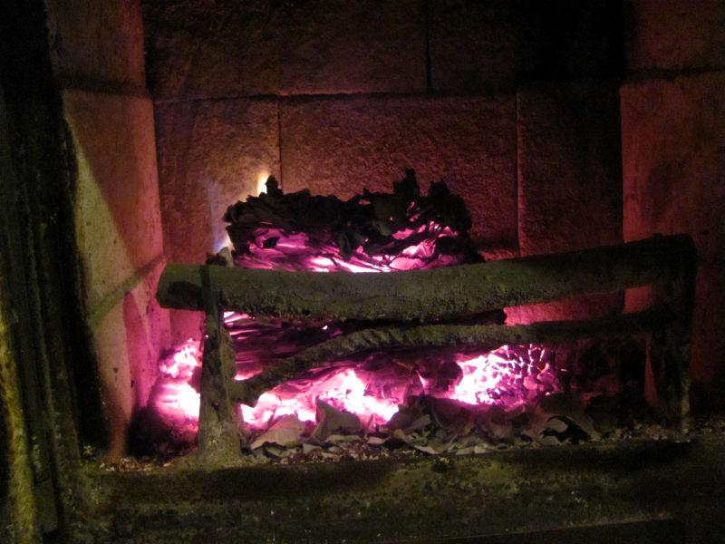 Papierbriketts verbrennen